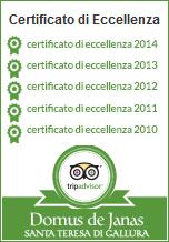 Certificato Tripadvisor per Domus de Janas